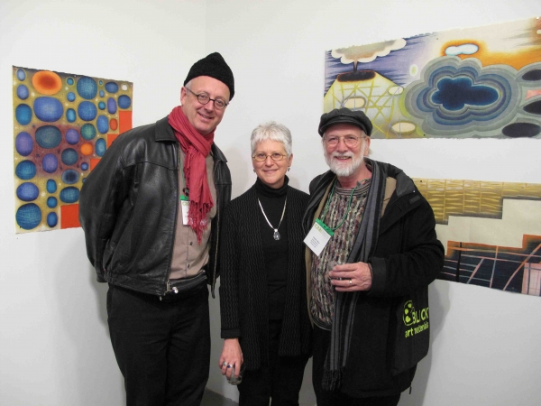 """Karen and friends, Beauvais Lyon and Dennis Olson, at Blackburn 20/20 Gallery show, NYC, February"""