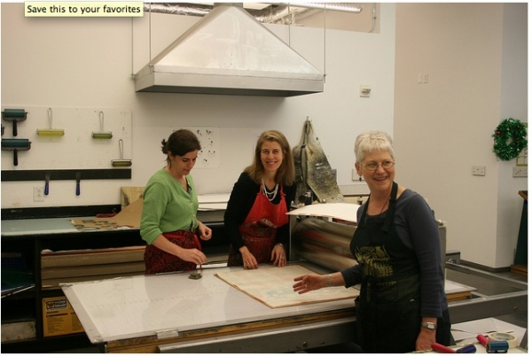 """Working with great printmakers Melissa Harshman and Eileen Wallace at U of Georgia,  February"""