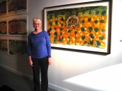 "Thumbnail image of ""Karen at her solo show at the Anderson Obrien Gallery, Omaha, January"""