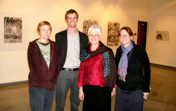 """A Nebraska connection in Cairo: exhibiting artist Jennifer Ghormley, AUC Assistant Prof Brian Curling, Karen, Fulbright student Dominique Ellis, February"""