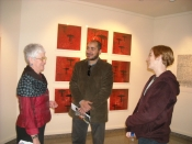 "Thumbnail image of ""Co-curators of Meeting the Other, Karen and Wael El Sabour, with exhibiting artist Jennifer Ghormley"""