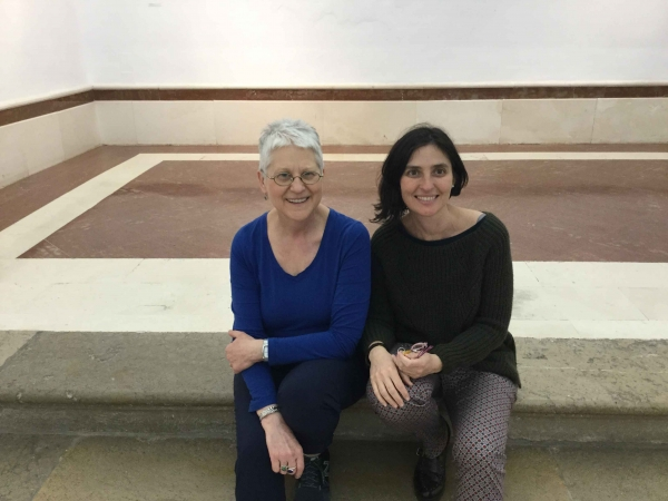 """Karen with her host in Spain, Professor Patricia Hernandez"""