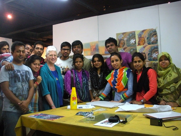 """Karen with workshop students from Dhaka University, sponsored by Fulbright Project Grant"""
