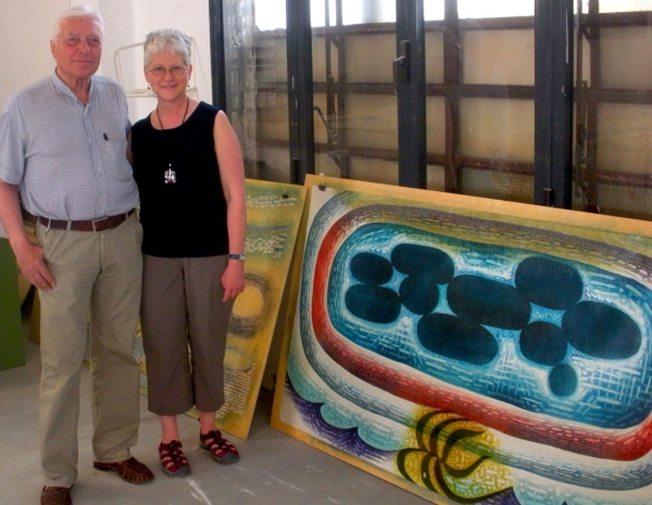 """Karen with Gianfranco Gorini, Director of Venice Printmaking Studio, Murano"""