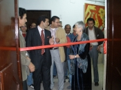"Thumbnail image of ""Karen cuts the ribbon to her exhibition, Minia University, Egypt, November"""