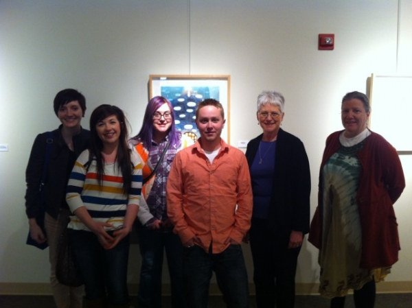 """Karen and UNL students at our show at the Norfolk Art Center,  April"""