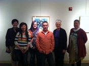 "Thumbnail image of ""Karen and UNL students at our show at the Norfolk Art Center,  April"""