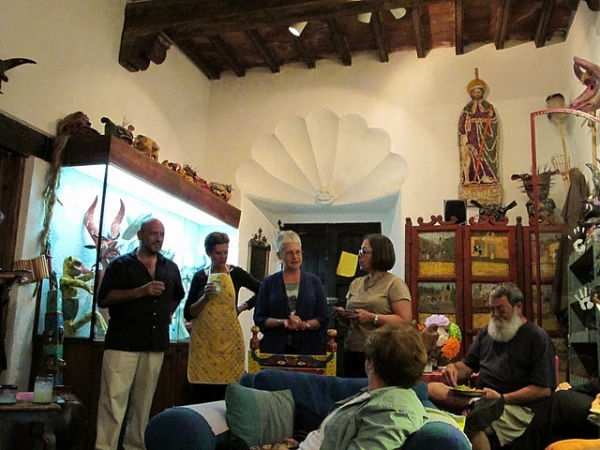 """Gathering the group at La Casa de Espiritus Alegres"""