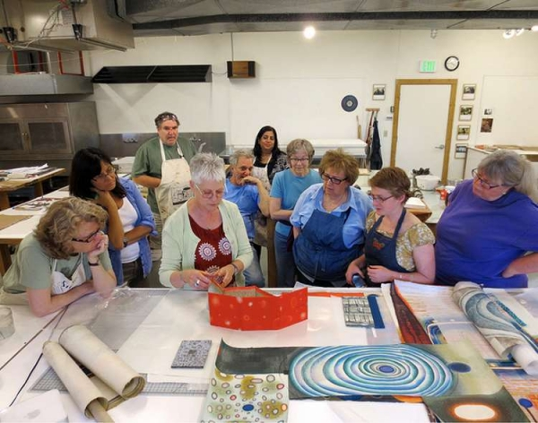 """Karen shows her work to her class members at Anderson Ranch Art Center, June"""