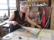 "Thumbnail image of ""Karen printing at the Donkey Mill Art Center, Holualoa, Hawaii."""