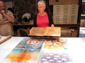 "Thumbnail image of ""Karen discusses her prints and process, in the studio of Carol Summers, Guanajuato, Mexico"""