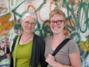 "Thumbnail image of ""Karen and her student Lauren on the streets of Guanajuato, August"""
