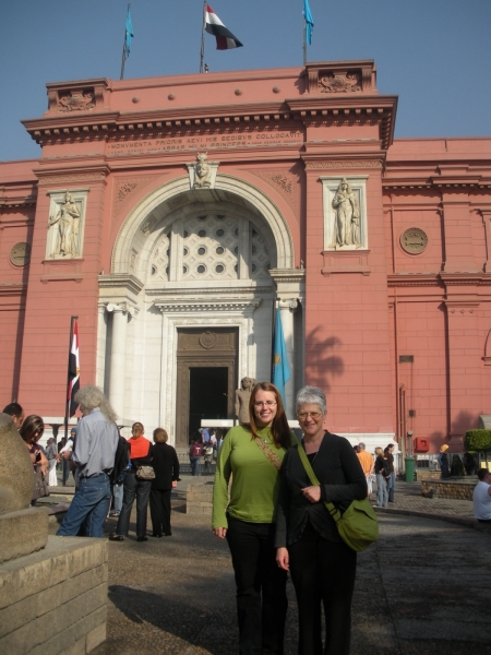 """Karen and her student Jewel Noll visit the Egyptian Museum, Cairo"""