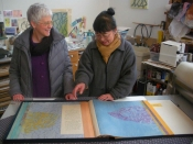 "Thumbnail image of ""Karen visits the studio of artist Kumi Korf, Ithaca, NY, February"""