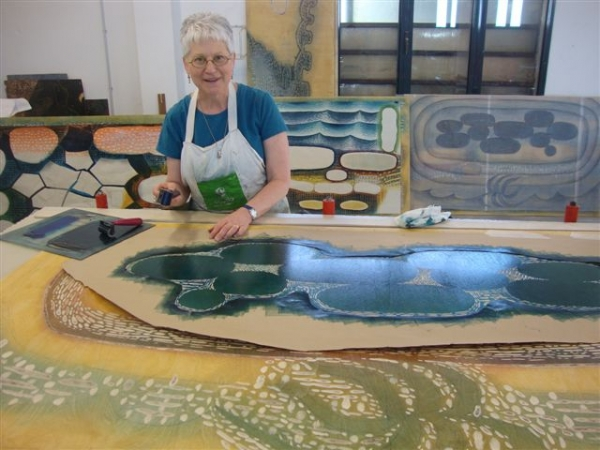 """Karen printing large scale woodcut at Venice Printmaking Studio, April"""