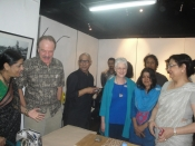 "Thumbnail image of ""US Ambassodor Dan Mozena views the activities of the workshop, sponsored by the Fulbright grant, at Athena Gallery, Dhaka, Bangladesh, May"""