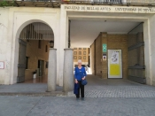 "Thumbnail image of ""Karen at the Faculty of Belle Artes, Univerisity of Seville, Spain"""