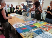 "Thumbnail image of ""The finished prints created at Piramidal Grafica, by the Boston Printmakers group, Guanajuato, Mexico"""