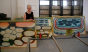 "Thumbnail image of ""On sabbatical working on large scale woodcuts, Venice Printmaking Studio, April                        """