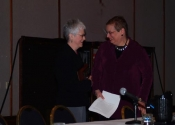 "Thumbnail image of ""Joann Moser presents the Printmaker Emeritus Award to Karen at the Southern Graphics Council conference in Kansas City, March"""