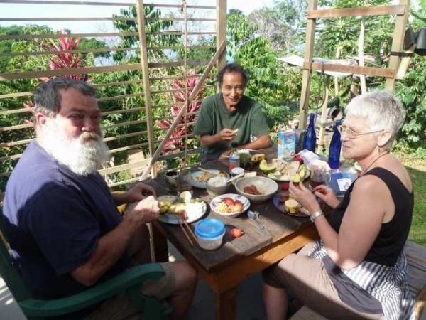 """Coffee farm breakfast, Karen & Kenny with Hiroki Morinoue, Holualoa, Hawaii"""