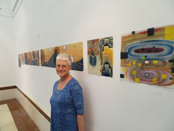 """Karen with her works, Arcos, Spain"""