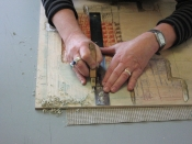 "Thumbnail image of ""Carving the block for Solid Illusion"""